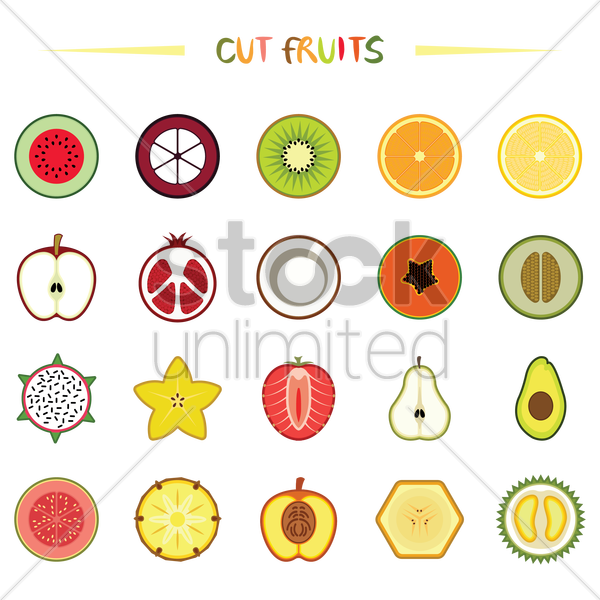 various half cut fruits vector graphic
