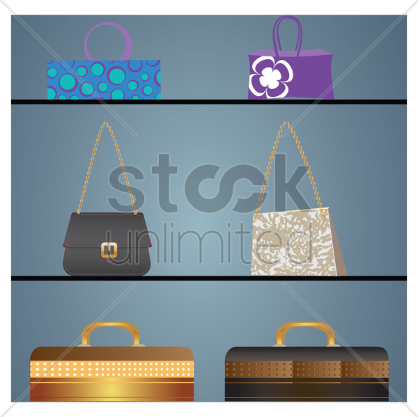 various handbags on display vector graphic