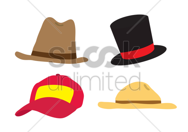 various hats and caps vector graphic