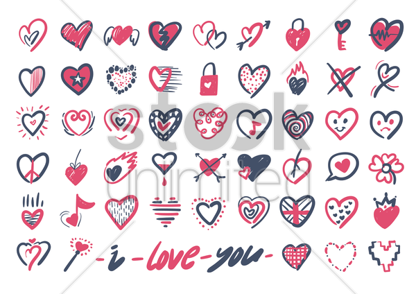 various heart icons vector graphic