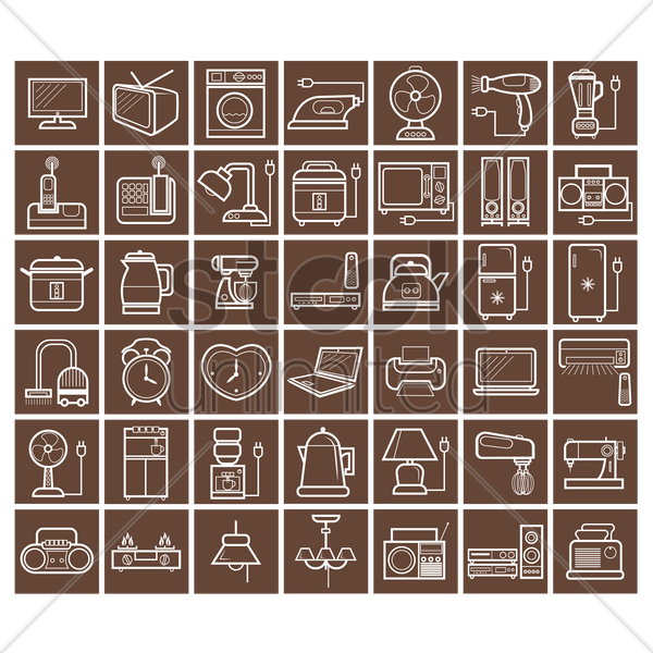 various home appliances and household items vector graphic