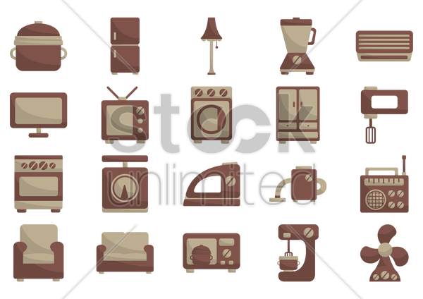 various home items vector graphic