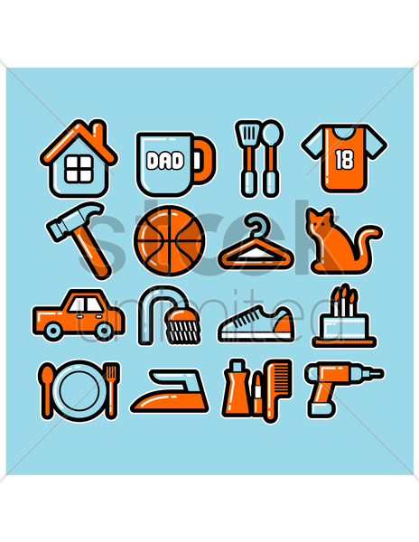 various items collection vector graphic