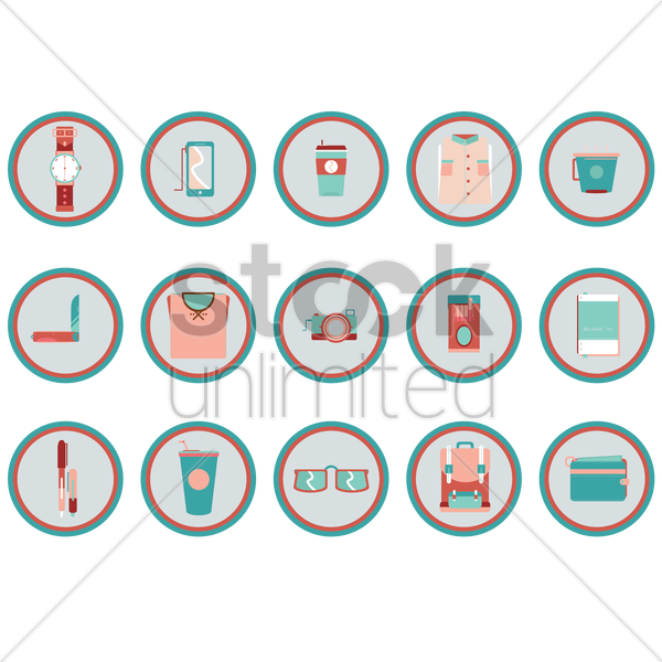 Free various items collection vector graphic
