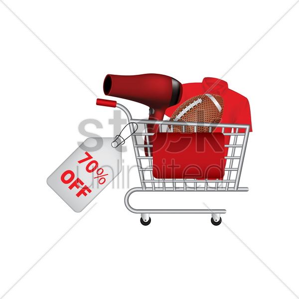 various items on promotion in a shopping cart vector graphic