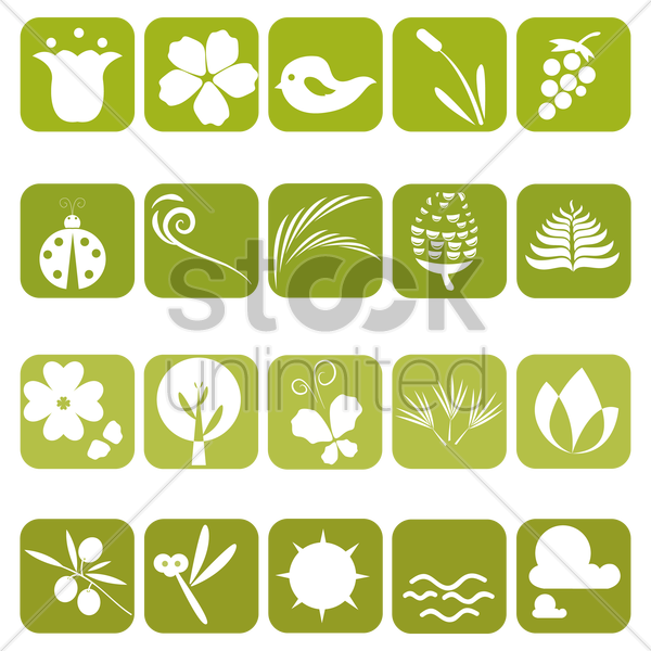 various nature related items vector graphic