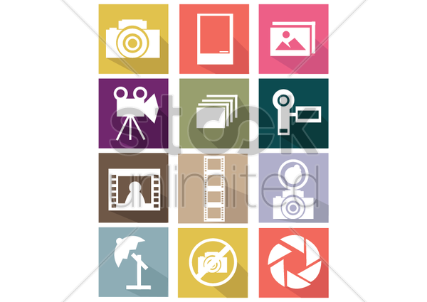 various objects in photography vector graphic