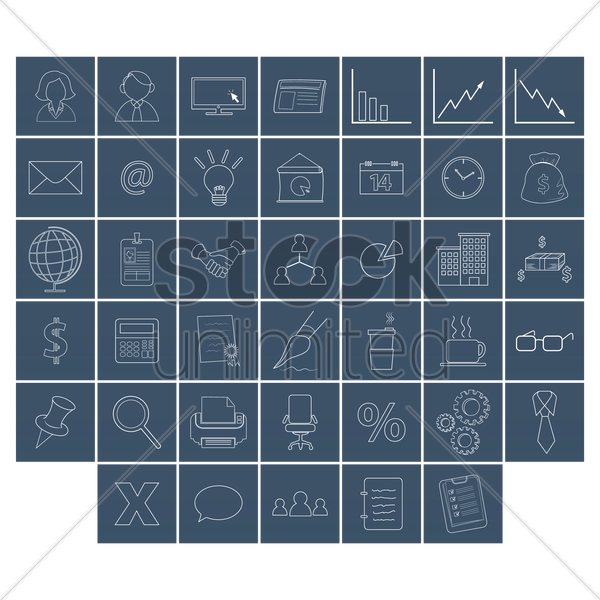 various office related items vector graphic