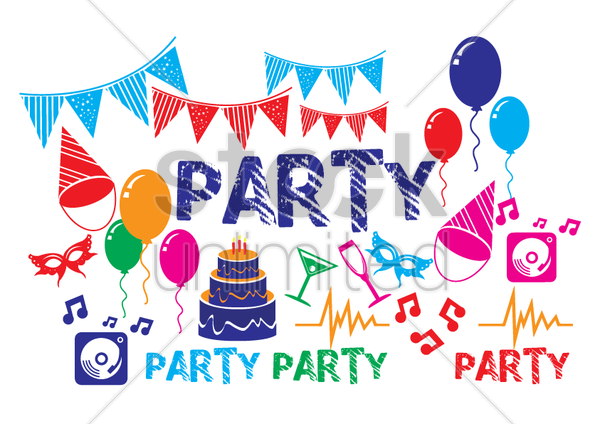 various party objects vector graphic