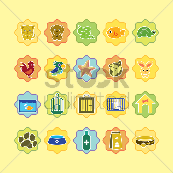 various pets and pet related icons vector graphic