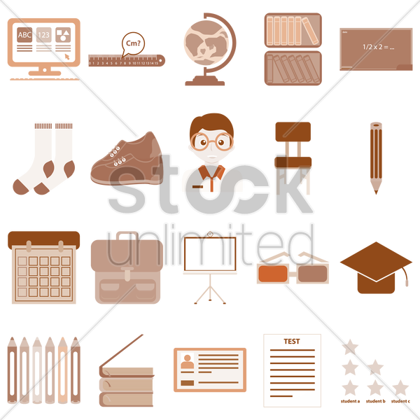 various school items vector graphic