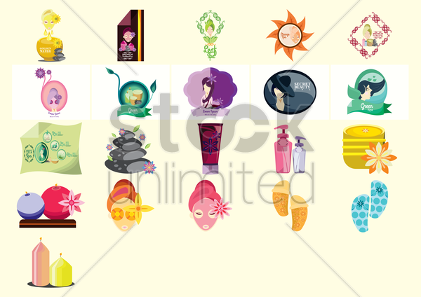 various spa icons vector graphic