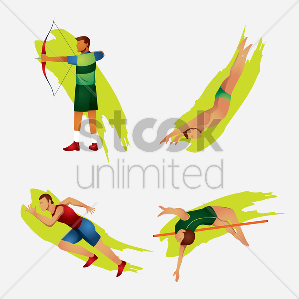 various sports activities vector graphic