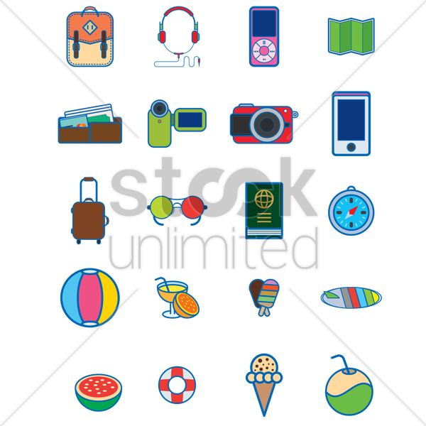 various vacation and travel icons vector graphic