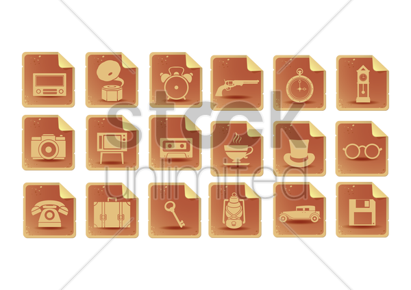 various vintage icons vector graphic