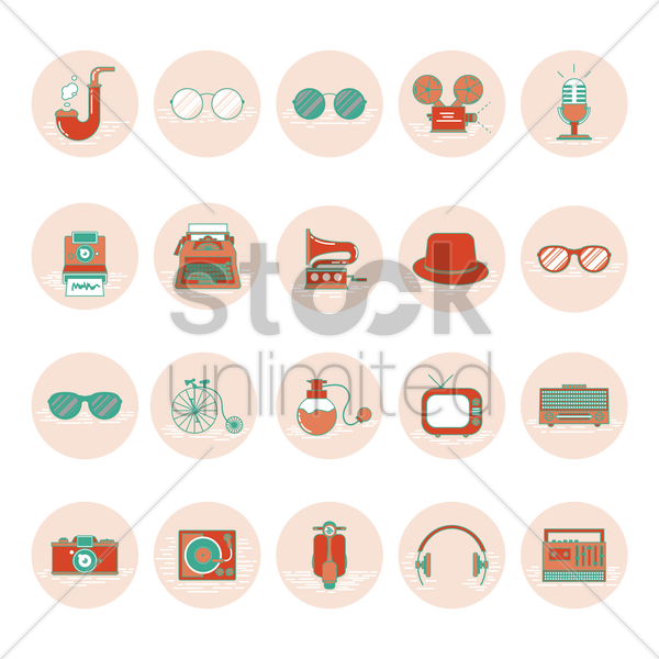 various vintage vector graphic