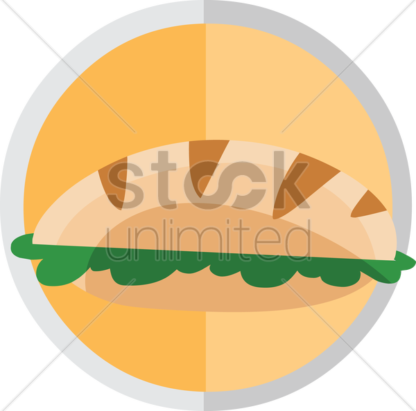 Free vegetarian sub sandwich vector graphic