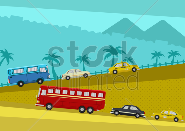 vehicles on road trip vector graphic