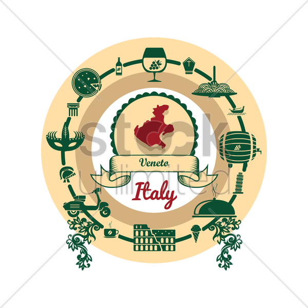 veneto map label vector graphic