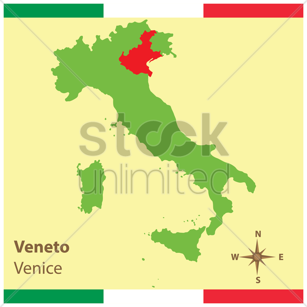 veneto on italy map vector graphic