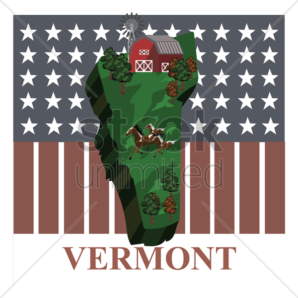 vermont state map vector graphic