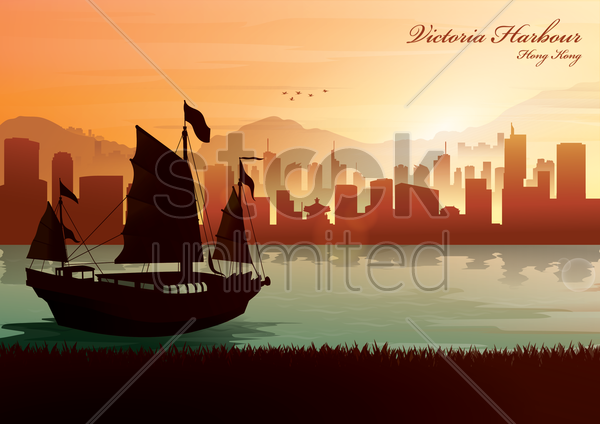 victoria harbour vector graphic