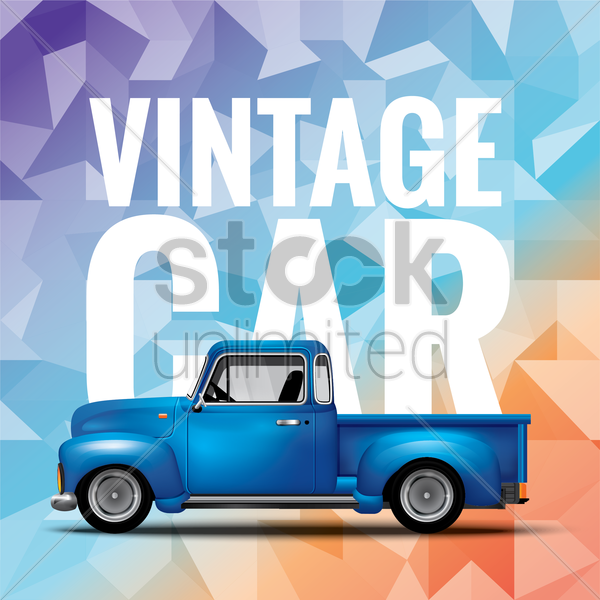 vintage car design vector graphic
