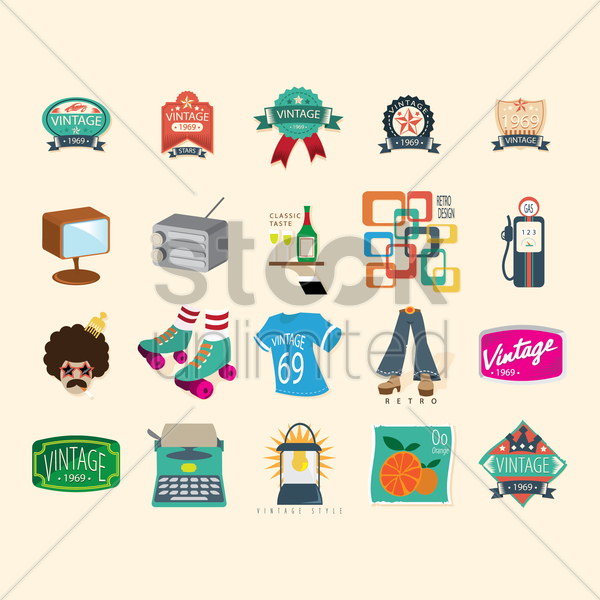 Free vintage collection vector graphic