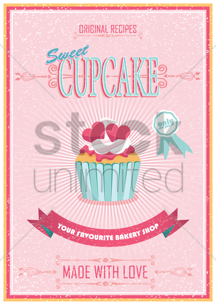 vintage cupcake poster vector graphic