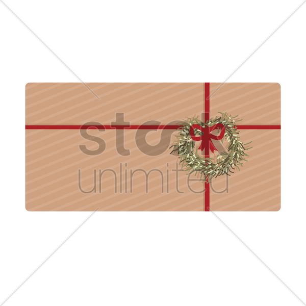 vintage gift box with red ribbon vector graphic