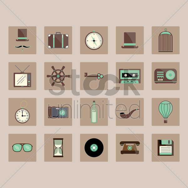 vintage icons vector graphic