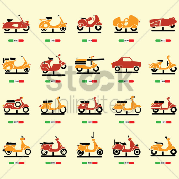 vintage italian scooter collection vector graphic