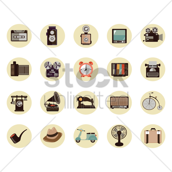 vintage item collection vector graphic