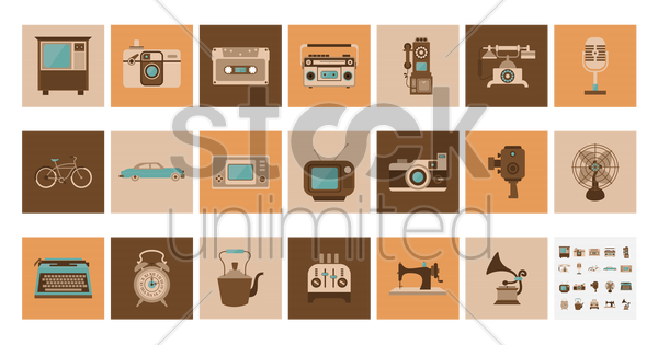 vintage items vector graphic