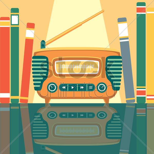 vintage radio in between books vector graphic