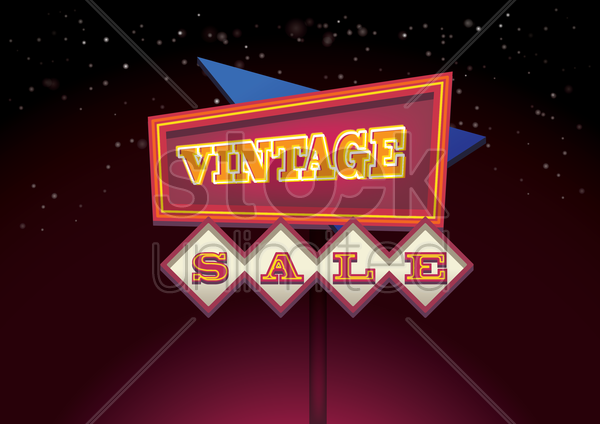 vintage sale signboard vector graphic