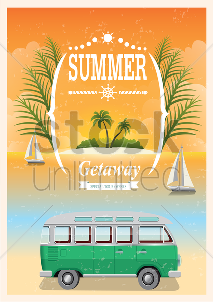 vintage seaside poster vector graphic