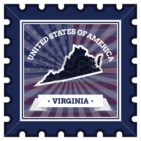 virginia postage stamp vector graphic