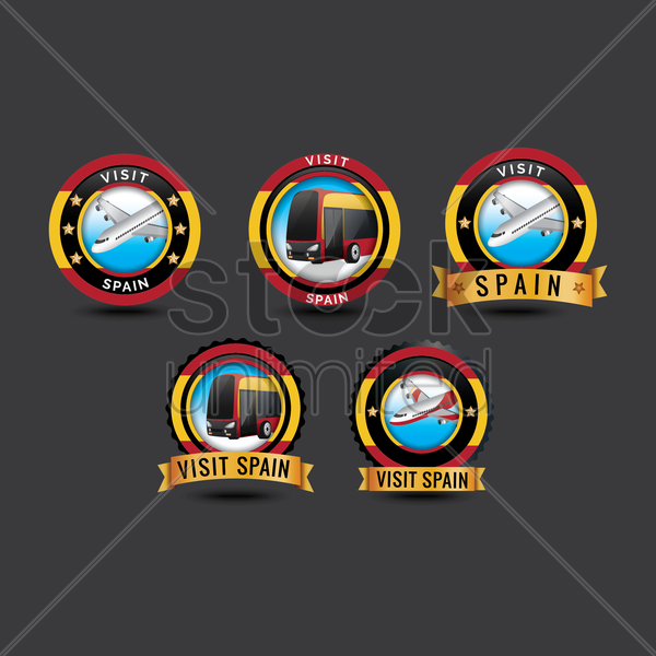 visit spain stickers vector graphic