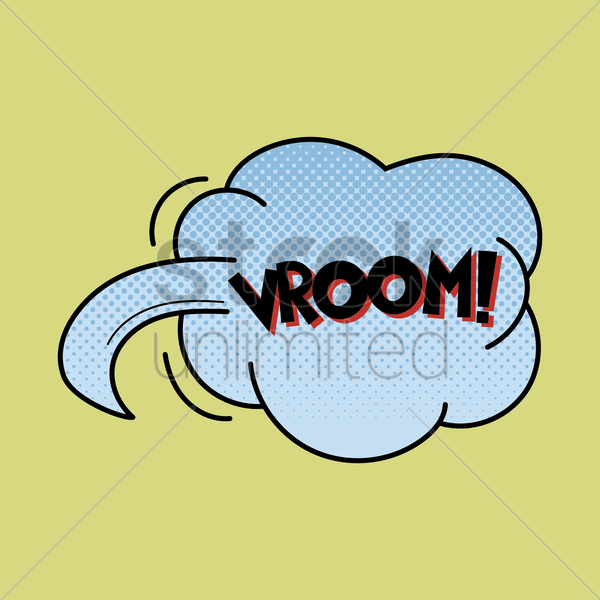 vroom text with comic effect vector graphic