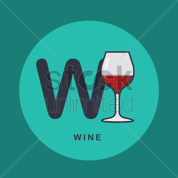 Free w for wine. vector graphic