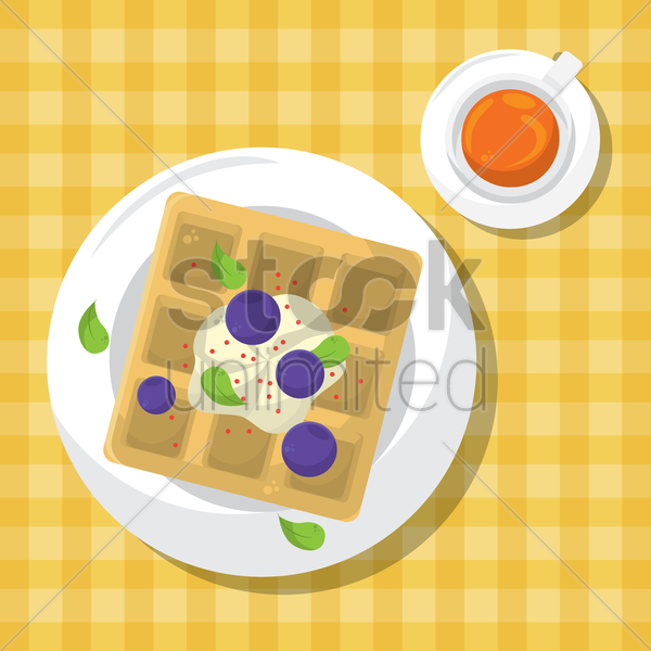 waffle tart with blue berry vector graphic