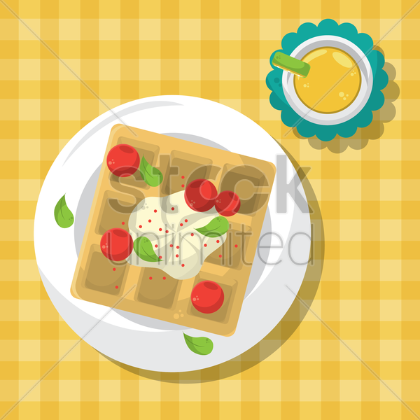 waffle tart with cherries vector graphic