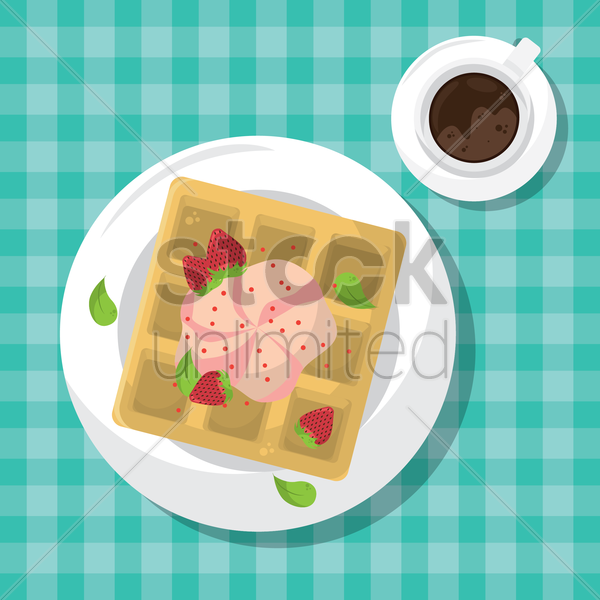 waffle tart with strawberry vector graphic