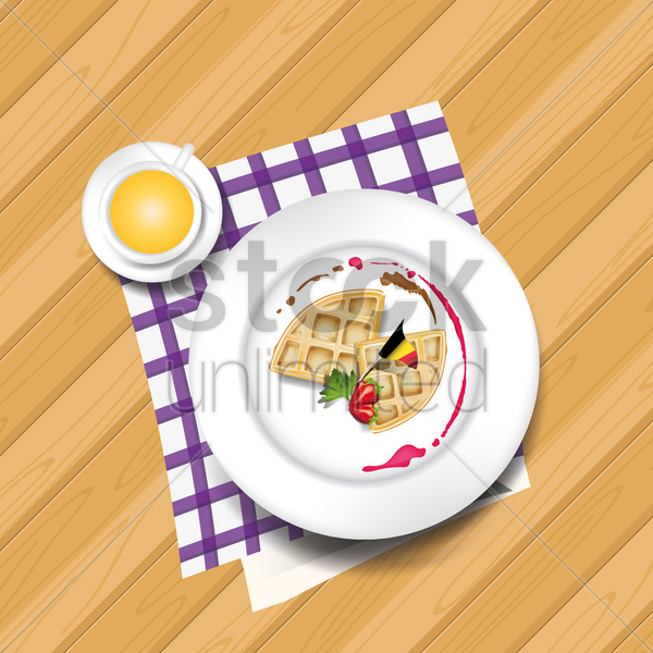 waffle with hot drink vector graphic