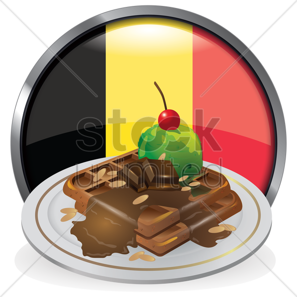 waffle with ice cream and chocolate vector graphic