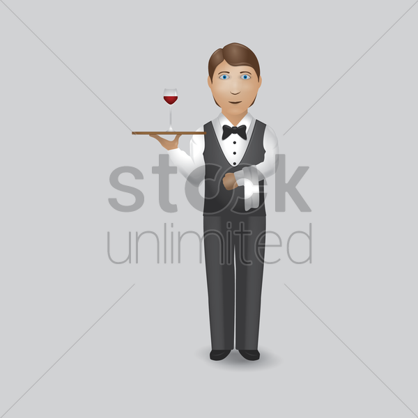 waiter holding glass of wine vector graphic