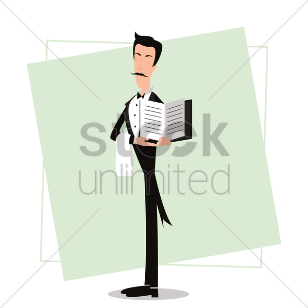 waiter holding menu card vector graphic