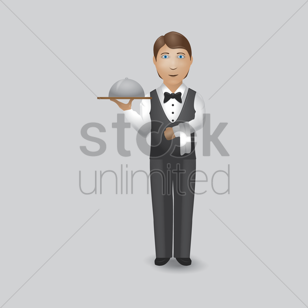waiter holding tray with cloche vector graphic