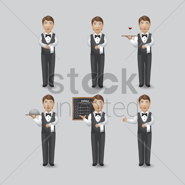 waiter in various activities collection vector graphic